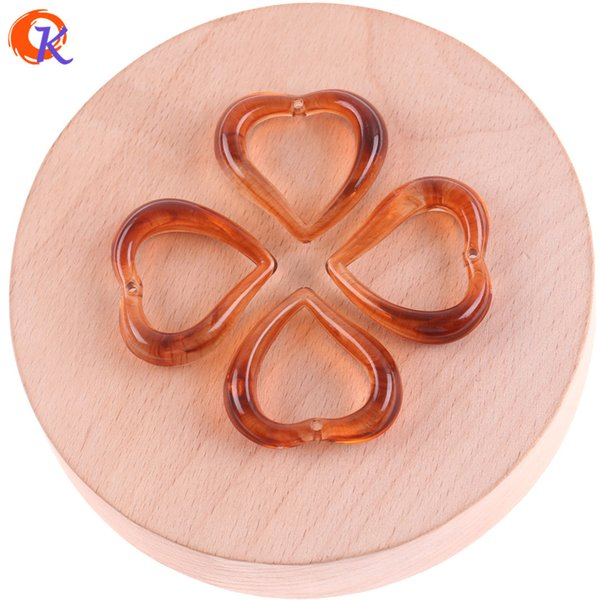 wholesale 27*29mm 100pcs Jewelry Accessories/Acrylic Beads/Imitation AmberEffect/Heart Bead/Hand Made/Earring Findings
