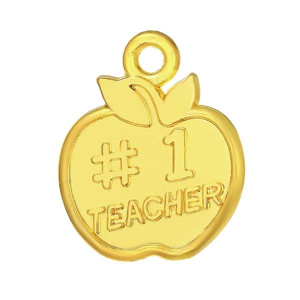Anzuelo venta al por mayor al por menor de moda 20 unids moda pulsera accesorios personalizados Apple en forma de letra inicial de oro Charm colgante