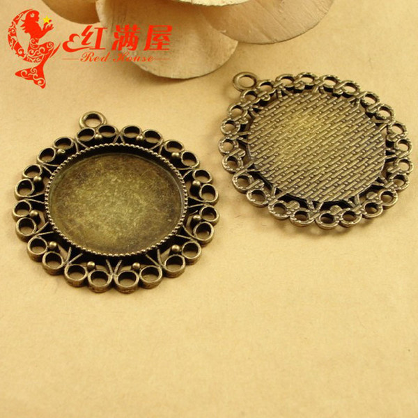 A3496 39MM Fit 25MM Antique Bronze The time gem bottom support DIY accessories, round metal stamping blank, cabochon setting base tray