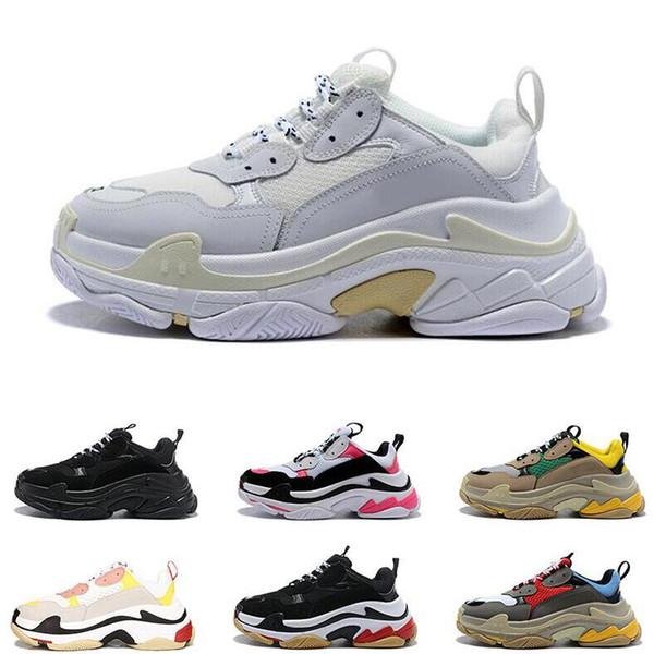 2019 best qualFashion designer Paris 17FW Triple s Sneakers for men women black red white green Casual Dad Shoes tennis increasing shoe35-45