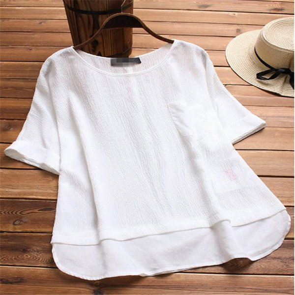 Plus Size Womens Tops And Blouses Summer Vintage Woman White Blouse Ladies Tops Women Clothes 2019 Korean Fashion Clothing