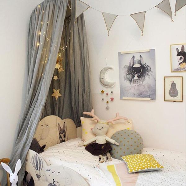 Cama do bebê crianças quarto colorido decoração da parede redes ângulo estrelas penduradas ornamentos adorno conjuntos de cama infantil 250 cm