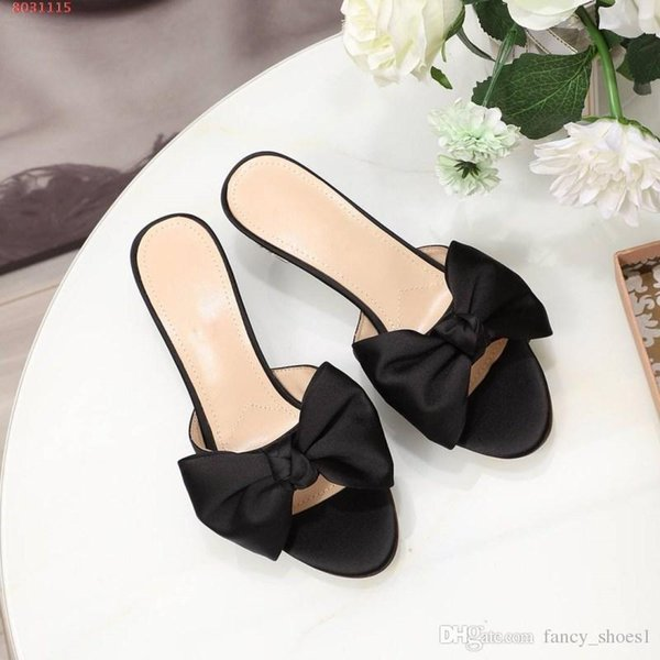 Women sandals new leather wine glass with bow casual half drag leather outsole low Sexy slippers