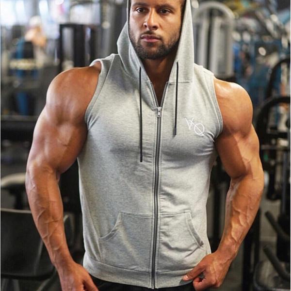 New Brand Running Vest Men Bodybuilding Tank Top Compression Fitness Gym Sportswear Undershirt Hooded Men's Sleeveless Shirt