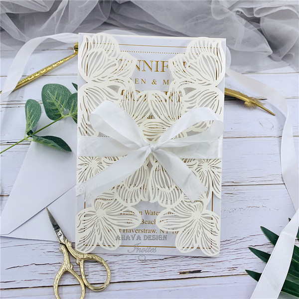 best selling Fancy romantic ivory floral laser cut wedding invite with envelope and personalized insert, 20+ Colors Available
