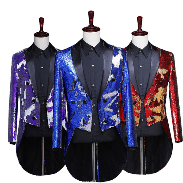 2019 men laser sequins tuxedo personality can be change color when the magician singers perform dance clothes