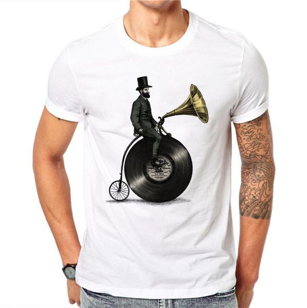 100% Algodão Homens T Shirts Moda Phonograph Gramophone Design de Manga Curta Casual Tops Cartoons Impresso T-Shirt Tee Branco