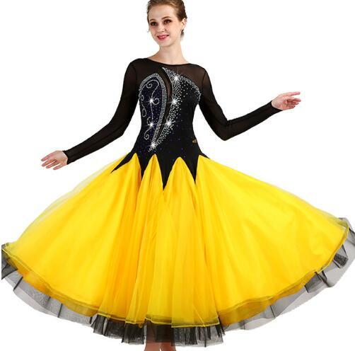 Ballroom Competition Dance Dresses Women 2019 New Long Sleeve Elegant Flamenco Dancing Skirt Yellow Standard Ballroom Dress