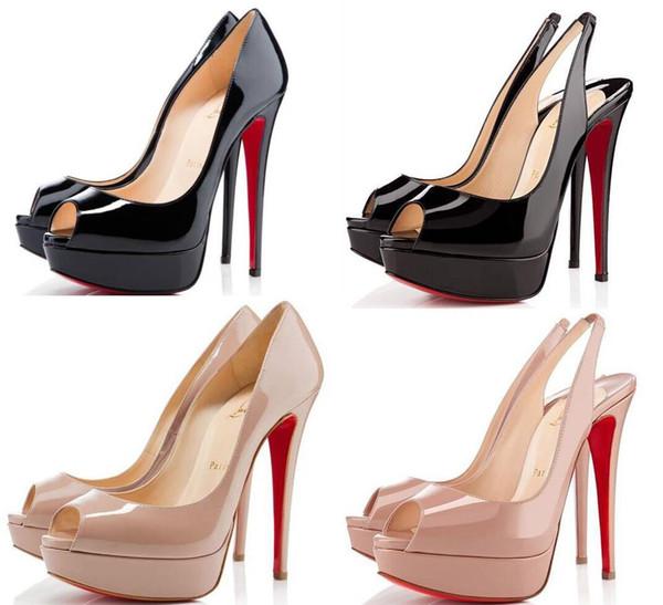 14см Марка женщины Red Bottoms Высокие каблуки Sexy Peep носком платформы Red Подошва обуви Женщины Насосы на высоком каблуке партии обувь размер 34-43