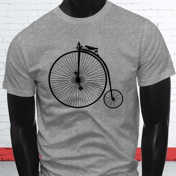Fast Big Bike Tricycle Unique Brakes 1800s High Wheel Bicycle Mens Gray T-Shirt jacket croatia leather tshirt denim clothes camiseta