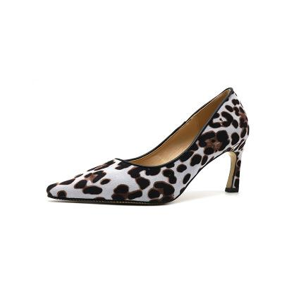 Spring style new personality and comfortable wild 7CM high heels sexy leopard print non-slip point stiletto women's shoes