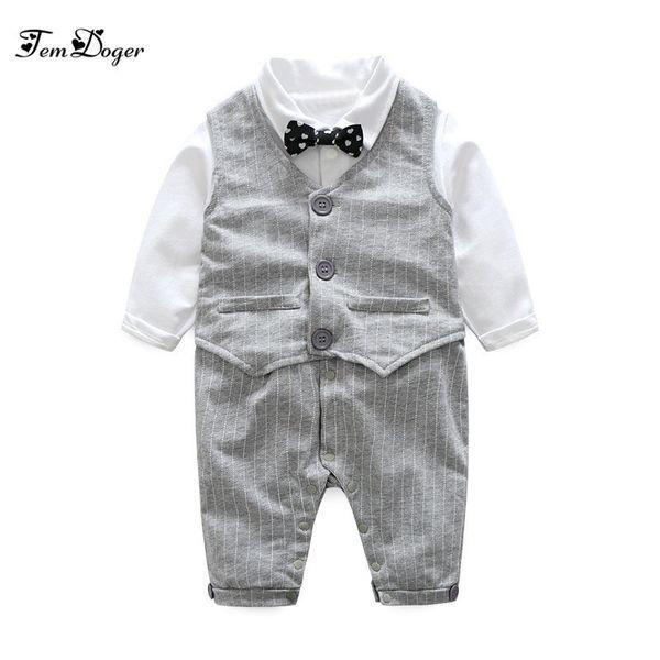 2017 Autumn Fashion Baby Boy Clothes Sets Newborn Gentleman Cotton Tie Rompers+vest 2pcs Baby Suits Infant Casual Clothing J190520
