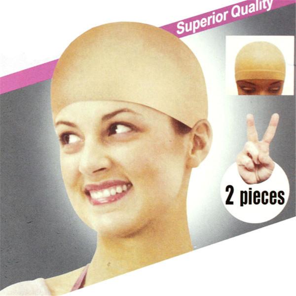 2pcs Unisexe Nylon Bald Perruque Cheveux Bonnet Bas Doublure Snood Mesh Stretch Nude Beige Utiliser Et Laver facilement Anne Top Selling