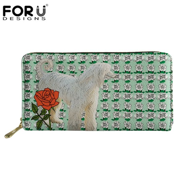 FORUDESIGNS Women Long Clutch Wallet Afghan Hound&Rose Purse Ladies Card Holder Wallets Phone Pocket Money Bags Dropshipping New
