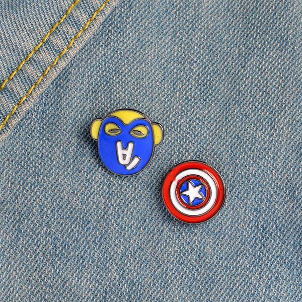 Cartoon Captain America Brooch Superhero Vintage Shield Brooch Pin for Women Men Lapel pin bags badge Gifts