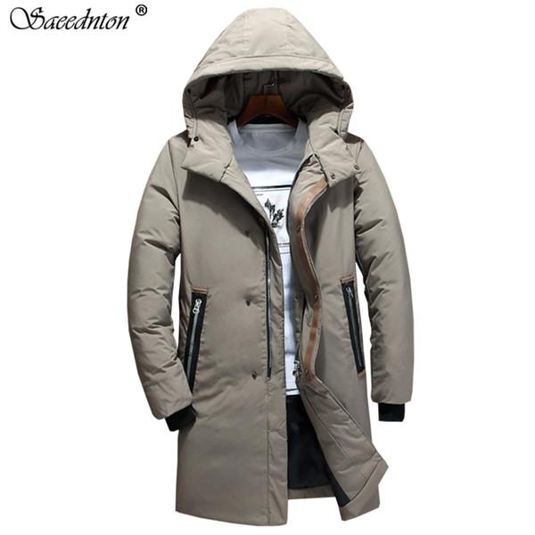 Erkekler Için kış Mont 2019 Yeni Kış Adam Moda Orta Uzunluk Aşağı Pamuk Yastıklı Kalın Sıcak Parkat Ceket erkek Kapşonlu Palto
