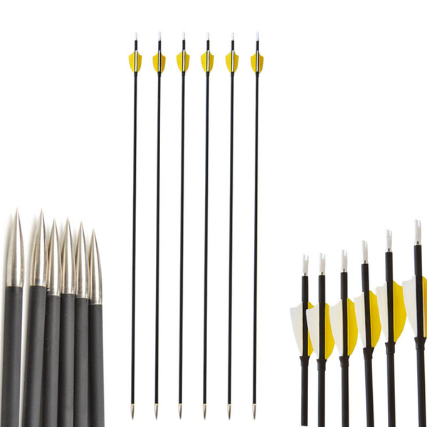 Archery Target Shooting Carbon Arrows SP 1000 With 2 inch Natural Feather and Fixed Arrowheads For Outdoor Hunting Shooting Sports
