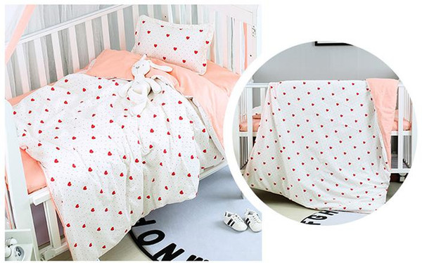 2pcs cot bed sets sheets 100/% Cotton for baby toddler kids pink pillowcases