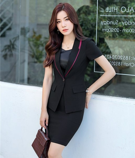High Quality Formal Female Skirt Suits for Women Business Suits Black Blazer and Jacket Sets Office Work Wear Clothes