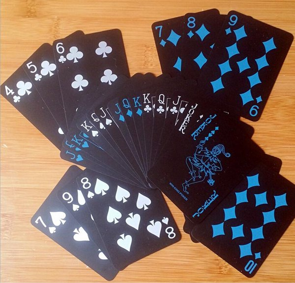 Black Texas Holdem Classic Advertising Poker Waterproof PVC Grind Durable Board Role Playing Games Magic Card 4 2hy WW