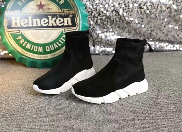 2018 autumn and winter new; high help, sports and leisure, Korean version, thick, casual mix, short tube, stretch, tide boots, flat bottom,