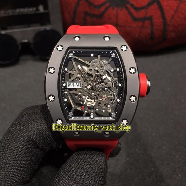 10 Color Best version RM 035 GOLD AND CERAMIC Ceramics Case Skeleton Dial Miyota Automatic RM035 Mens Watch Red Rubber Strap Sport Watches