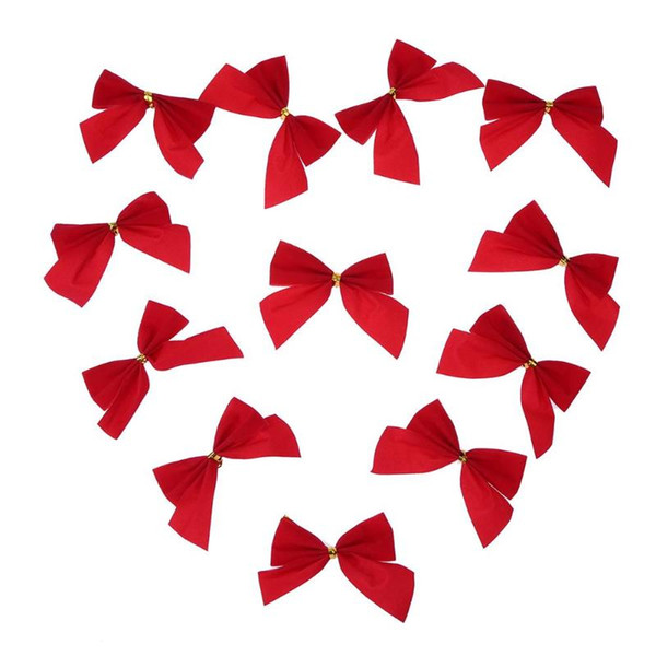 12pcs Red Christmas Tree Bow Bowknots Xmas Wedding Party Decoration Ornaments Home Decor 2019 new Year decoration for home