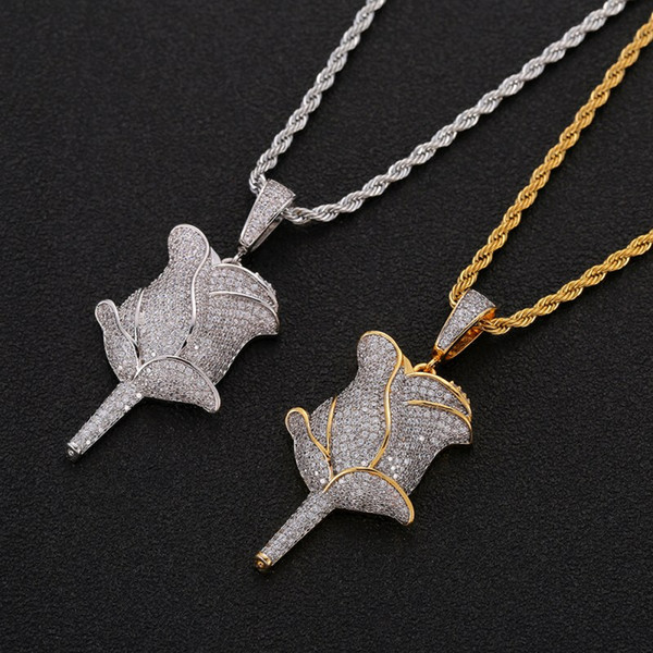 Wholesale Hip Hop Rose Flower Pendant Necklace With Rope Chain