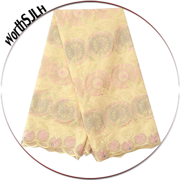 Latest Swiss Nigeria Voile Lace Fabric Yellow Men African Fabric Lace 5 Yards Purple Indian Dry Cotton Lace Fabric For Wedding