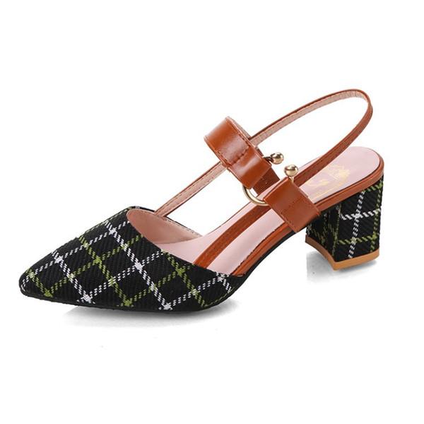 Scarpe da donna POMPE 2019 nuove scarpe selvagge per bambini selvagge a grana grossa grandi dimensioni 42 sandali a punta con tacco alto