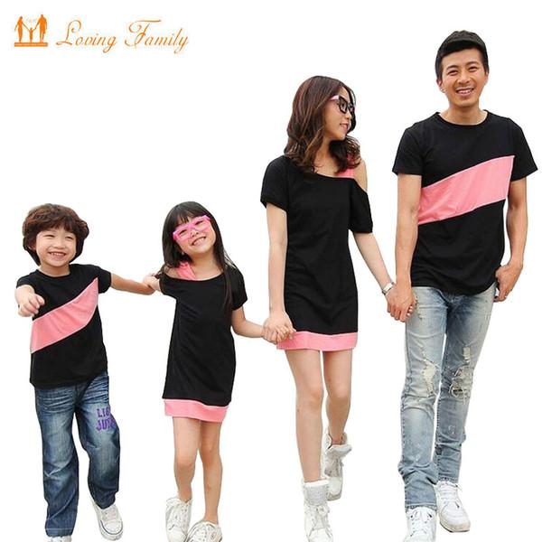 Aile Bakmak Giyim Anne Kızı Elbiseler Için Özel Omuz Aile Eşleştirme Kıyafetler Baba Oğul Giysi için T-shirt