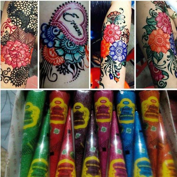 10 Unid / lote Colorido Tatuaje de Henna Pasta Indio Impermeable Tatuaje Mehndi DIT Dibujo Tatoo Pintura Corporal Arte Crema Cono Para Plantilla TSLM2