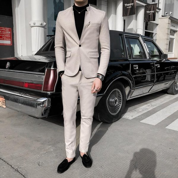 2020 chinese style business casual men jacket + suit pants autumn new collarless male slim fit two pieces suit set men clothing - from $63.38