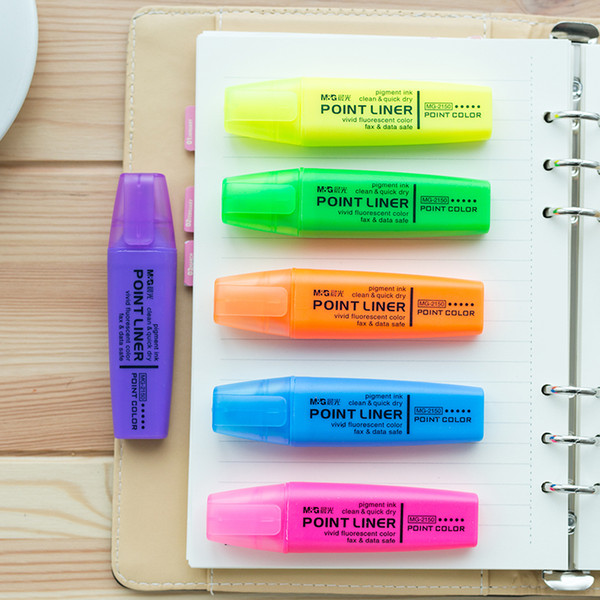 36 pcs/Lot Point color highlighter pen Fluorescente marker Liner for fax paper drawing Stationery Office School supplies