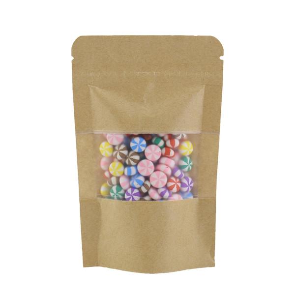 "9x14cm (3.5x5.5"") Stand Up Kraft Paper Bags food tea Resealable zip lock Curved Corner brown kraft paper bag with window"