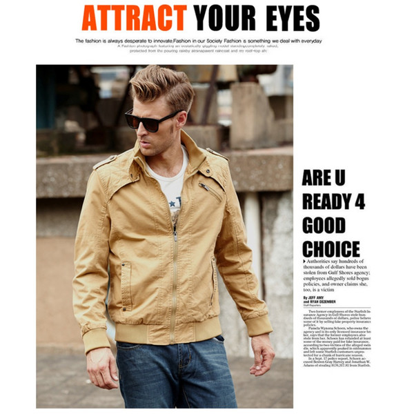 VVTS Men's Casual Jacket Long Sleeve Full Zip Fashion Cotton Outdoor Jacket with Shoulder Straps Outerwear Coats 3XL