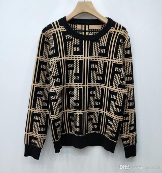 Großhandel 2019Double F Pullover Rundhals Langarm Herbst Und Winter Neue Mode Wilde Karo Kontrast Farbe Pullover Pullover Shirt Frauen Von