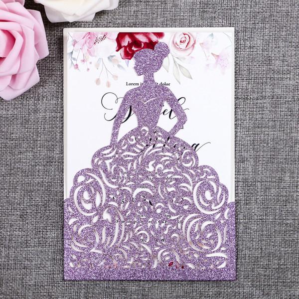 Compre Precioso Corte Láser Ligero Purpurina Purpurina Princesa Bonita Invitaciones Tarjetas Para Tarjetas De Cumpleaños Quinceañera Dulce El