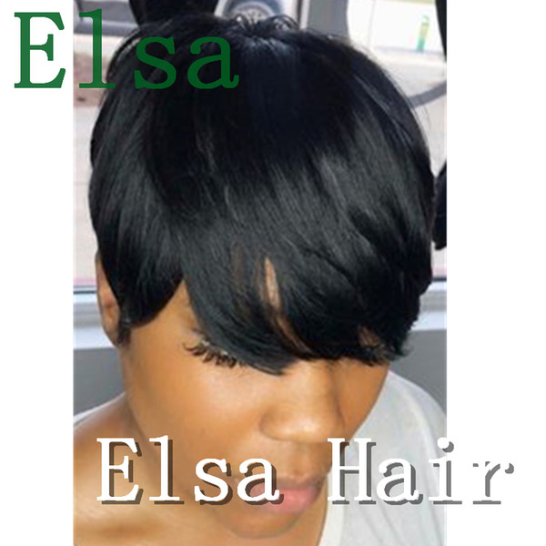 100% Human Hair Natural Looking Long Bangs Short Cut Wigs Pixie Black Hair Glueless Wigs for Women