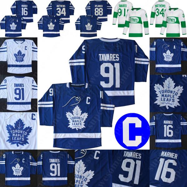 best selling Toronto Maple Leafs 91 John Tavares Jersey With C Patch 34 Auston Matthews 16 Mitchell Marner 31 Frederik Andersen Hockey Jerseys Blue White