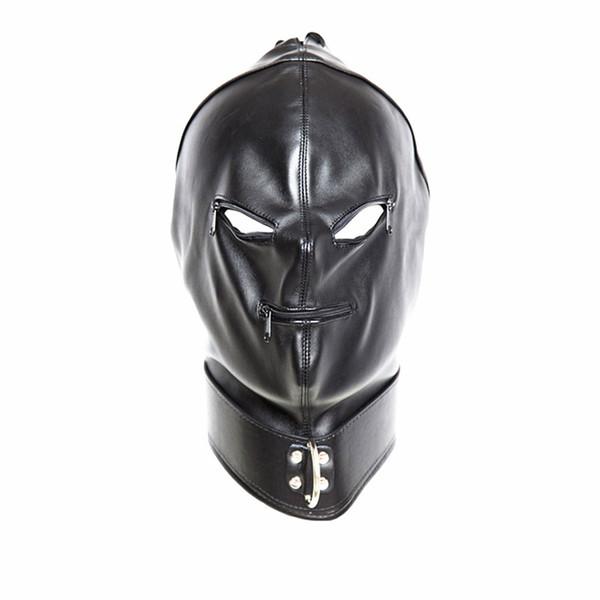 бдсм голова капюшон маска с застежкой-молнией связывание передач обучение черные взрослые секс-игрушки для женщин GN312400023