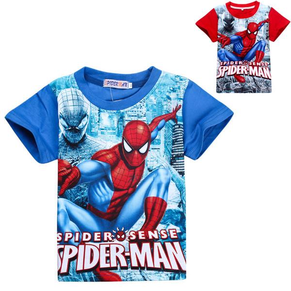 Neue Sommerbaby-Karikaturart und weise spiderman T-Shirt Jungen Kurzhülse Hemd scherzt die Supermannkleidung, die freies Verschiffen kleidet