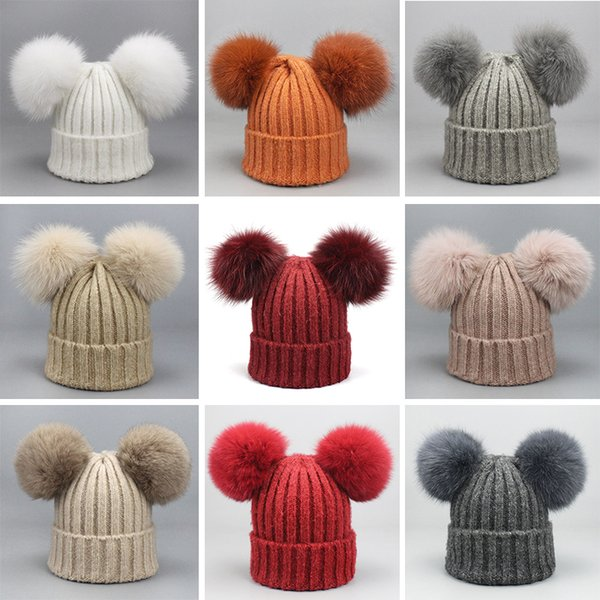 Double poms melon beanie female autumn and winter knit Skull Caps fox fur ball wool hat thick warm Beanie wholesale head hat
