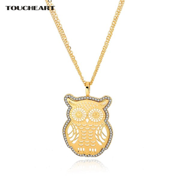 TOUCHEART Hollow Cute Gold Owl Friendship Necklaces & Pendants For Women Vintage Crystal Long Ethnic Jewelry Necklace SNE150887
