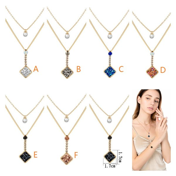 2019 Kendra Style Square Drusy Druzy Necklace Faux Pearl Beads Double Layers Gold Chain Necklace Women Jewelry Giftl