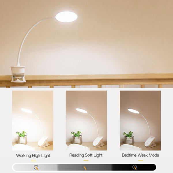 LED Touch On/off Switch 3 Modes Clip Desk Lamp 4000K Eye Protection Desk Light Dimmer Rechargeable USB Led Table Lamp