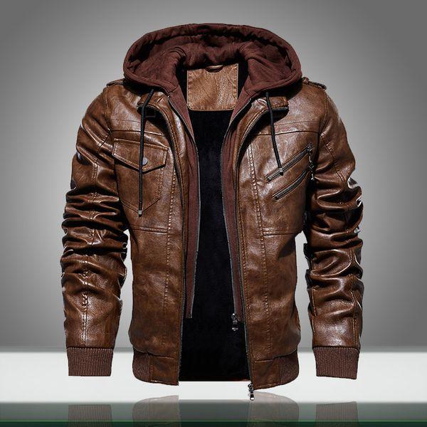 Winter Warm Men Leather Jacket New Solid Motorcycle Coats Male Thick Velvet Hooded PU Outwear Zipper Baseball Jacket Windbreaker