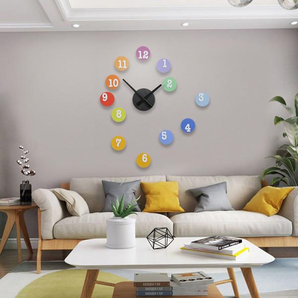 2019 MEISD DIY Gökkuşağı Renkli Yuvarlak Duvar Saati Modern Tasarım Sessiz Asılı Sticker Saatler 3D Kuvars Oturma Odası Duvar İzle