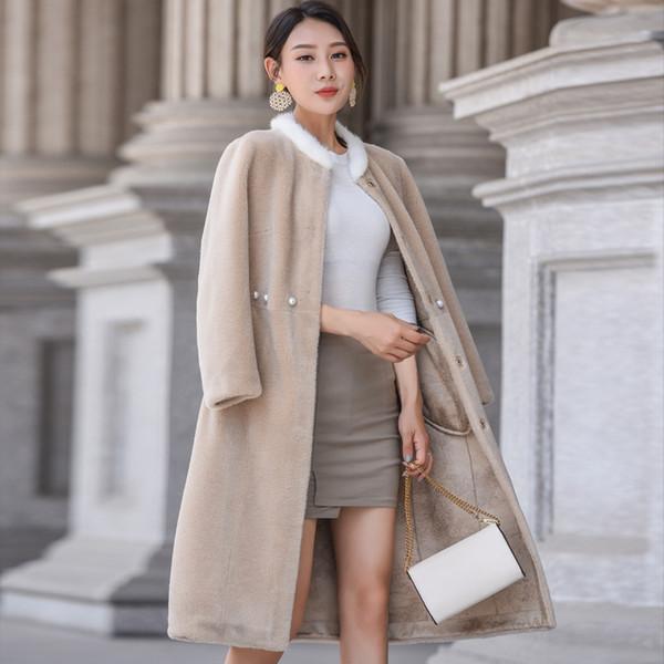 Reale Pelliccia Streetwear Collare 100% lana giacca Autunno inverno del cappotto dei vestiti delle donne 2020 coreano Vintage Suede fodera Tops