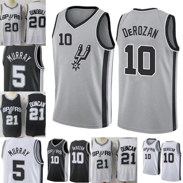 58d211592a7 Demar 10 DeRozan San  Antonio New Spurs Jersey Mens Tim 21 Duncan Manu 20  Ginobili Dejounte 5 Murray Embroidery Basketball Jerseys